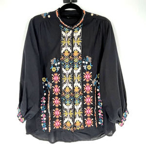 Tolani Black Embroidered Floral Button Down Top